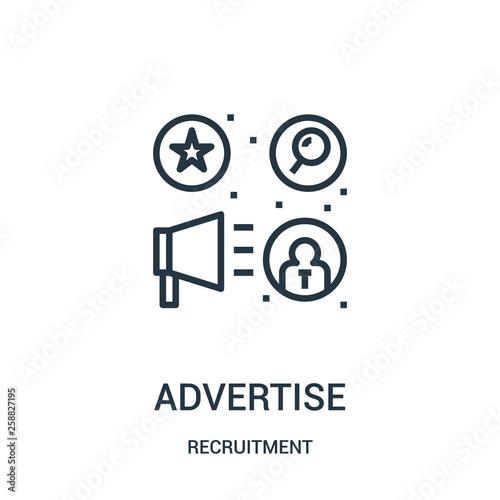 Fotografía  advertise icon vector from recruitment collection