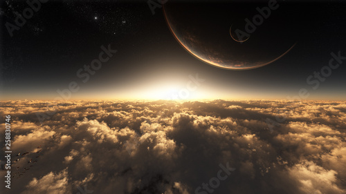 majestic fantasy landscape environment with celestial sky - 258830746