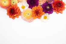 Dahlia, Ranunculus And Anemone Flower Background Floral Flat Lay