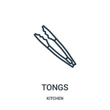 Tongs Icon Vector From Kitchen...