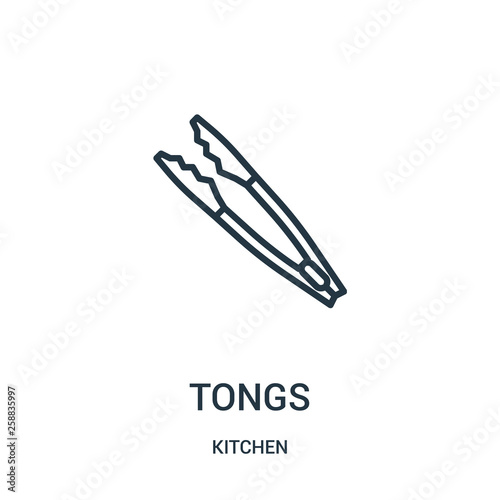 Fotomural tongs icon vector from kitchen collection