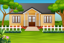 Cartoon House With Green Yard And Wooden Fence