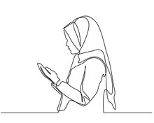 Continuous Line Drawing With Silhouette Design A Woman Raises His Hand And Prayer. Can For Mubarak Ramadan Greeting Cards, Ramadan Kareem, Invitations To The Muslim Community. In Single Line Style
