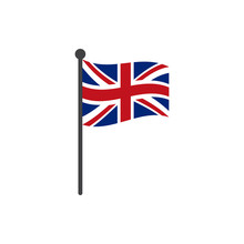 Uk Flag With Pole Icon Vector Isolated On White Background