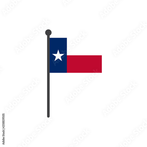 texas  flag with pole icon vector isolated on white background Canvas Print
