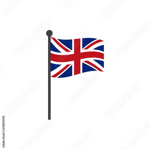 Fototapeta uk flag with pole icon vector isolated on white background obraz