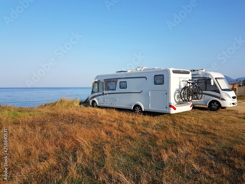 Valokuva caravan car summer holidays by the sea