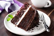 Slice Of Dark Chocolate Cake O...