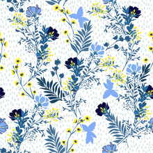 Seamless Vector Pattern  Vector Illustration Of A Hand Drawn Blue And Yellow Meadow Flowers And Leaves. With Hand Paint Polkadots Design For Fashion , Fabric, Web, Wallpaper, And All Prints
