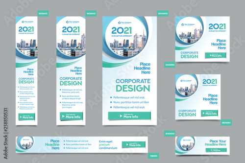 City Background Corporate Web Banner Template in multiple sizes. Easy to adapt to Brochure, Annual Report, Magazine, Poster, Corporate Advertising media, Flyer, Website.