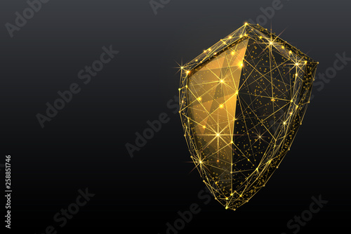 SHIELD low poly gold Canvas-taulu