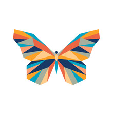 Geometric Polygonal Butterfly. Abstract Colorful Animal. Vector Illustration.