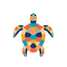 Geometric Polygonal Turtle. Abstract Colorful Animal. Vector Illustration.