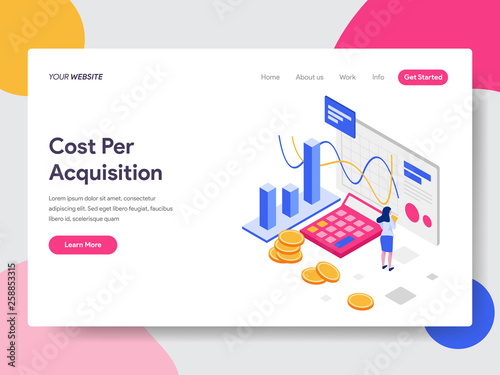 Photo  Landing page template of Cost Per Acquisition Isometric Illustration Concept