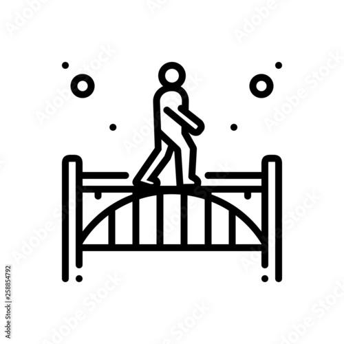 Photo Black line icon for footbridge