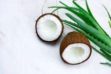Top View Coconut And Aloe Vera...
