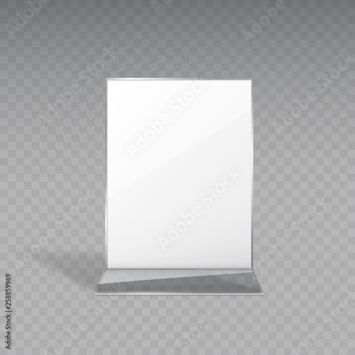 Display or acrylic table tent, card holder isolated on transparent background Wallpaper Mural