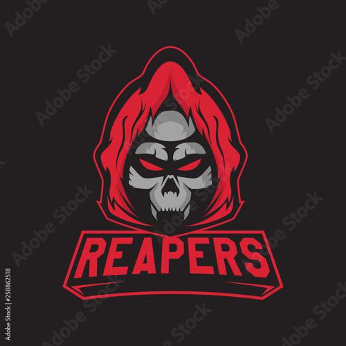 Modern professional logo for sport team  Reaper mascot  Skeletons