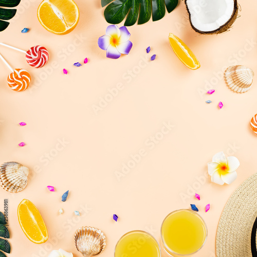 Colorful summer concept flat lay with fresh juice, tropical