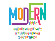 Vector Of Stylized Colorful Modern Alphabet Design