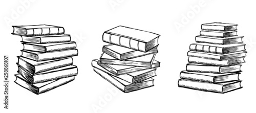 Carta da parati Book vector. Hand drawn illustration in sketch style.