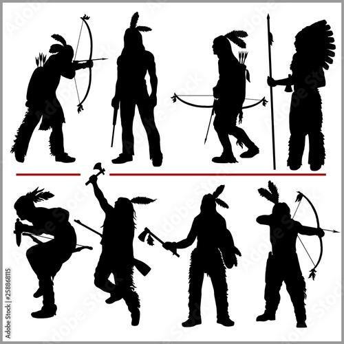 Obraz na plátně wild west silhouettes - native american warriors