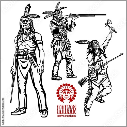 Photo American indians set of vintage emblems, labels and logos in monochrome style
