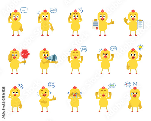 Valokuva  Set of cartoon chicken characters showing diverse actions, emotions