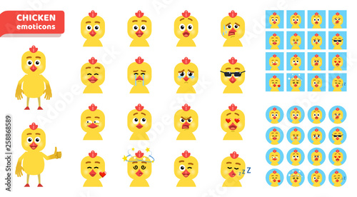 Fotografie, Tablou  Set of cartoon chicken emoticons