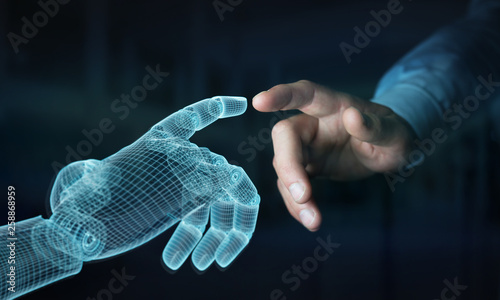 Valokuva  Wireframed Robot hand making contact with human hand on dark 3D rendering