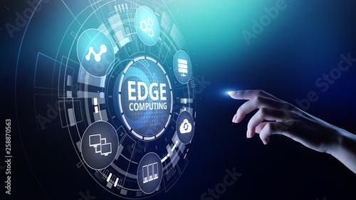 Obraz Edge computing modern IT technology on virtual screen concept. - fototapety do salonu