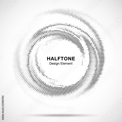 Valokuva Halftone circle dotted frame circularly distributed