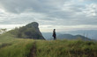 Man hiking in mountains alone outdoor ,travel adventure vacations Thailand landscape