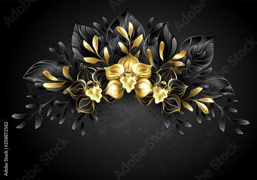Fotografija  Wreath black orchids