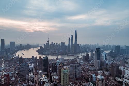 Fototapeta aerial view of East Nanjing Road, Shanghai, China. In dawn obraz na płótnie