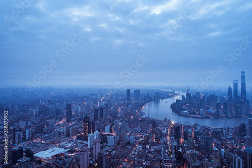 Poster New York aerial view of East Nanjing Road, Shanghai, China. In dawn