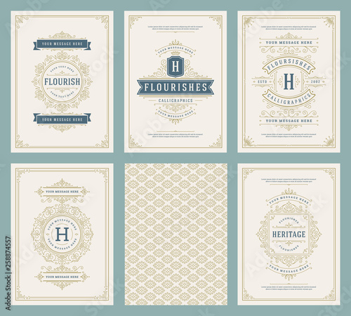 Fototapety, obrazy: Vintage ornament greeting cards set vector templates.