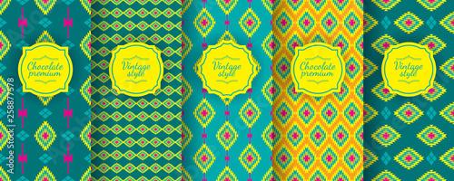 Foto auf AluDibond Boho-Stil Ikat seamless pattern. Set of traditional Uzbek backgrounds
