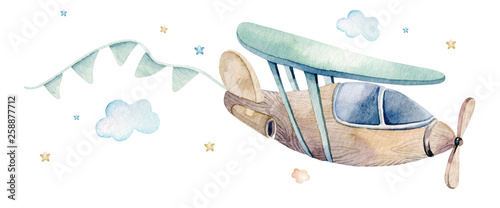 Photo  Watercolor set background illustration of a cute cartoon and fancy sky scene complete with airplanes, helicopters, plane and balloons, clouds