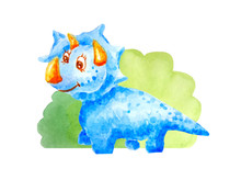 Blue Kind Happy Dinosaur Triceraptor  Near The Bushes Isolated On A White Background In Watercolor Style