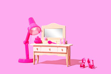 Conceptual Lifestyle Image Of A Teenage Girl Bedroom Furniture, Dressing Table With Makeup And Beauty Products, Minimal And Isolated With Copy Space
