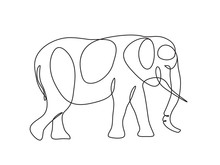 Elephant Continuous Line Drawing