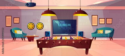 Fotografía  Comfortable recreation room for family leisure in house basement cartoon vector