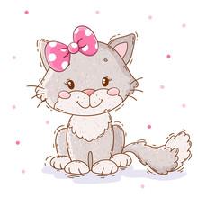 Cute Cartoon Kitten. Perfect F...