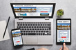 Travel agency concept on laptop, tablet and smartphone screen