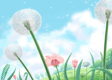 Digital Illustration Of Soft Green Meadow And Blue Cloudy Sky Background