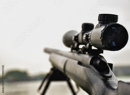 Obraz na plátně Rifle with a scope and bipod