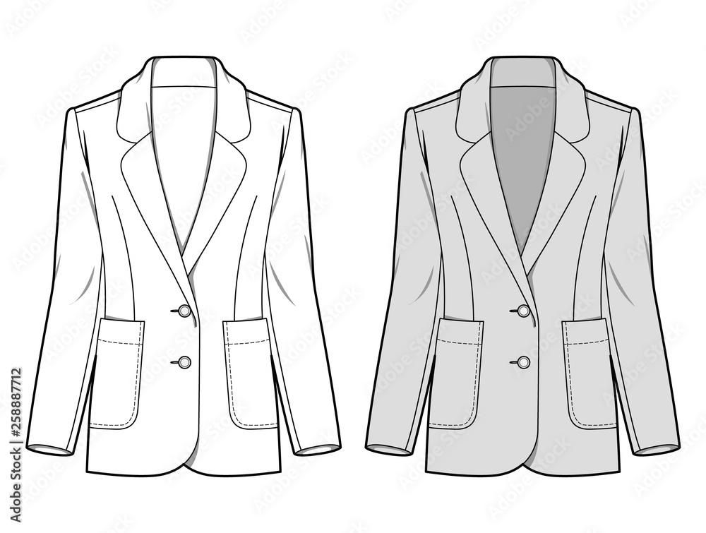 Fototapeta Outer Jacke fashion flat sketch template