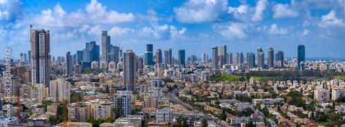 Cuadros en Lienzo  Panoramic cityscape of  Tel Aviv skyscrapers, Israel