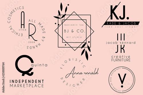 elegant clean minimal feminine logo template design collection Fototapet